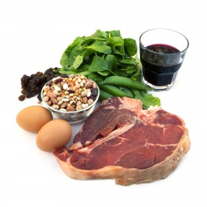 Food sources of iron, including red meat, eggs, spinach, peas, beans, raisins and prune juice.  Isolated on white.